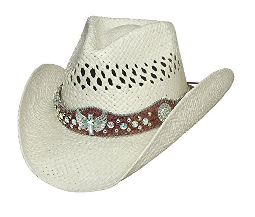 Montecarlo Bullhide Hats LONG LIVE ROCK Raffia Straw Cowboy Western Hat (S/M, White)