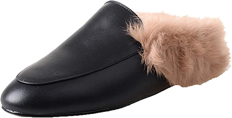 COOLOOK Women's Leather Mules Flat