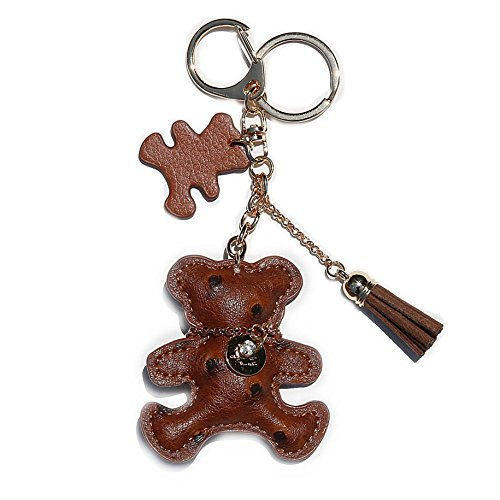 RitzyBay Leather Teddy Bear Keychain with Lucky Charms and Tassel -