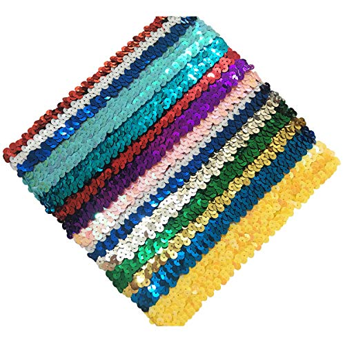 Sequin Hair Band - Yazon 1inch Elastic Sequin Headbands Fashion Women Headband Hair bands Pack of 12