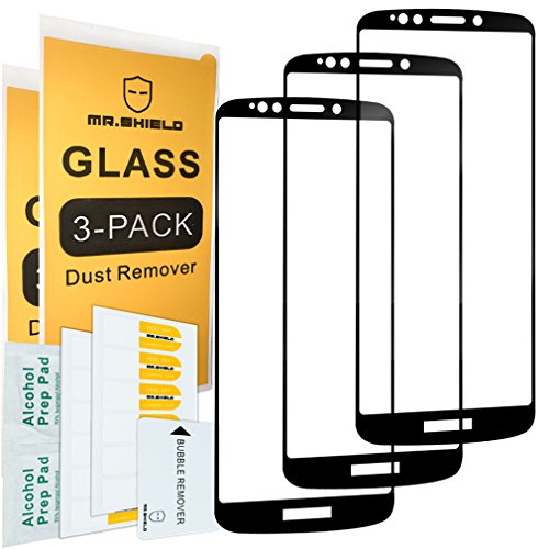 [3-PACK]-Mr Shield For Motorola Moto E5 Plus [Japan Tempered Glass] [9H Hardness] [Full Cover] Screen Protector with Lifetime Replacement Warranty