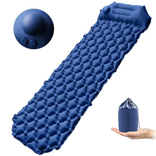 xhlife Self-Inflating Camping Pads, Inflatable Sleeping Pad with Pillow, Ultralight, Compact, Portable Bed Mat for Travel, Hiking, Backpacking, Tent and Sleeping Bag with Storage Bag, Hand Press Inflating Folding Air Mattress