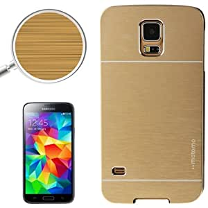 2 en 1 Brushed Metal Texture & Plastic Protective Case Cover Carcasa Para Samsung Galaxy S5 (Gold)