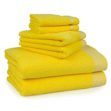 Bath Towel Set 6 Piece 100% Ringspun US Cotton, Chevron Zig-Zag Citrus Lemon Yellow