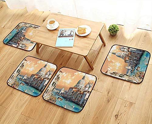 Leighhome Universal Chair Cushions Decor Grand Canal in Venice Italy Historical European Cityscape Town Tower Boho Print Personalized Durable W15.5 x L15.5/4PCS Set ()