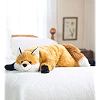 Fuzzy Fox Animal Giant Plush Stuffed Body Pillow for Kids Teens Adults, Soft Dense Fur, Beaded Eyes, Weighted Paws, Bed Accessories Toys Cuddly Critters Bedroom Decor, 4 Feet Long