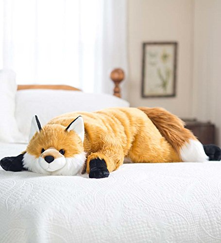 (Fuzzy Fox Animal Giant Plush Stuffed Body Pillow for Kids Teens Adults, Soft Dense Fur, Beaded Eyes, Weighted Paws, Bed Accessories Toys Cuddly Critters Bedroom Decor, 4 Feet Long)