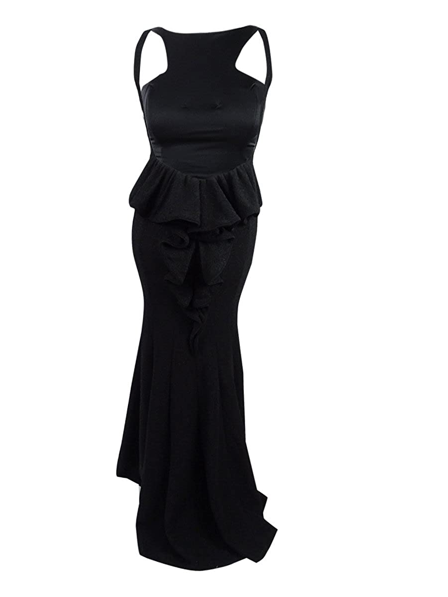 Xscape Womens Sparkle Open Back Prom Gown Dress Black 2 at Amazon Womens Clothing store: