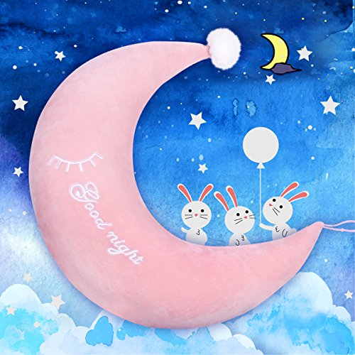 Cheap LALA HOME Neck Pillow | Accent Plush Pillows | Pink Nursing Moon Pillow | Baby Bouncer Plush Toy | Neck Support for Kids | Neat Soft and Squishy (Moon, Pink) for sale