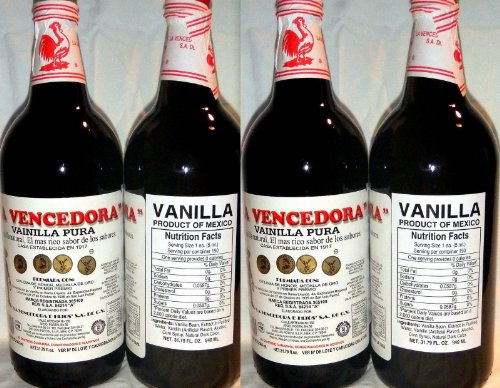 4 X La Vencedora Pure Mexican Vanilla Extract 31oz - 1L Each 4 Glass Bottles Product From Mexico by La Vencedora