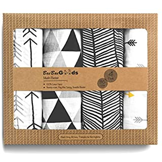 Muslin Swaddle Blankets – Soft Pure Cotton Muslin Blankets – 4 Pack of Breathable Swaddle Blankets – Unisex Baby Swaddle Blanket in Black & White Designs – Multi Use Muslin Blankets – 47 x 47 inches