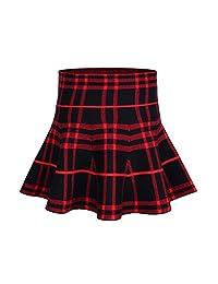 Storeofbaby Girls' Stretchy Waist Flared Pleated Mini Skater Skirt