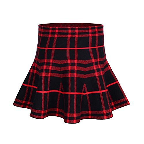 Little Girl Plaid Tutu Pettiskirt Skirt for Party(13-14 Years/Asian Size 7/Fits 170cm Tall,Wine Red)