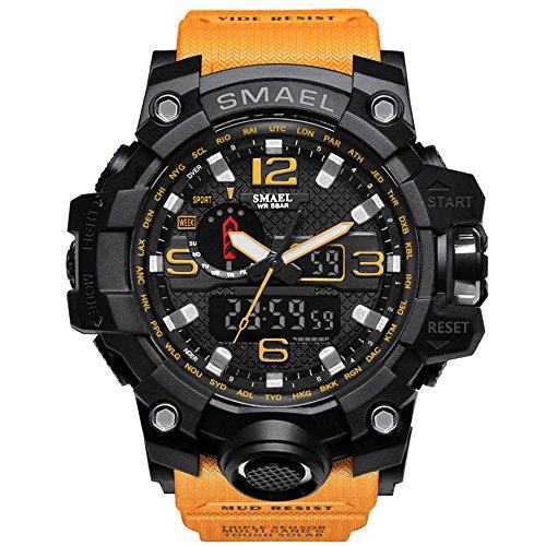 - IRELOJ Men's Large Face Dual Dial Analog Digital Quartz Military Sport Watch 164FT Water Resistant-Orange