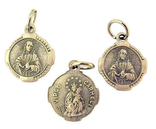 Silver Toned Base Petite Sacred Heart Scapular Medal Charm Pendant, Lot of 3, 3/4 Inch ()