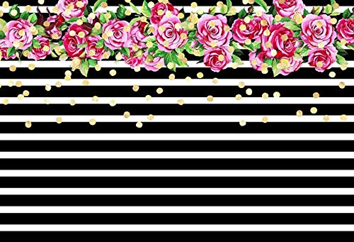 5x7ft Happy Birthday Rose Flowers Black Stripes Vinyl Photo Background Photography Backdrops ()
