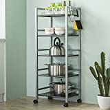 Multi-function five-storey dining car / microwave storage rack / kitchen storage cart / shelves ( Color : B )