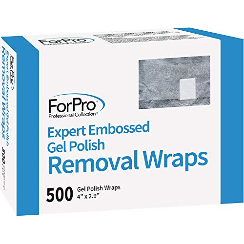 """ForPro Expert Embossed Gel Polish Removal Wraps, Pre-Cut with Cotton Pad, Remove Gel Polish, Acrylics, & Nail Art, 4"""" L x 2.9"""" W, 500-Count"""