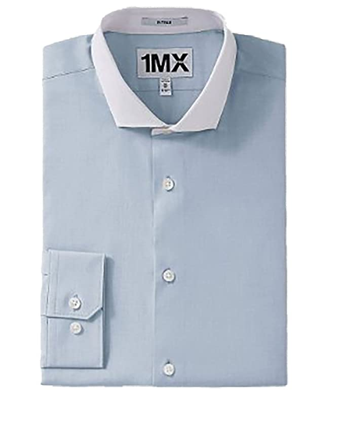 95a9be2126f Express Fitted 1MX Textured Contrast Collar Button Down Shirt (XXL ...