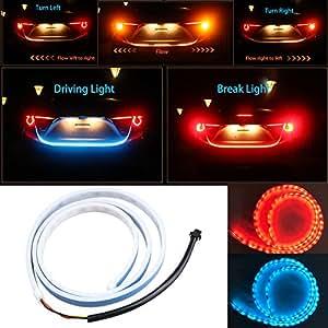 Led Rear Trunk Strip Light - Car Led 120cm 47'' 4Color Rear Tailgate Driving Brake Light Turn Signal Reversing Running Flow Dynamic Streamer Flow Type Lamp