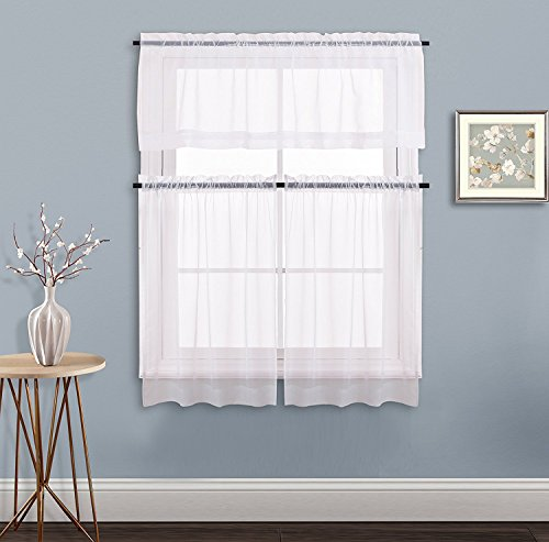 White Kitchen Window Curtain Set - NICETOWN Elegant Home Fashion Voile Drapes Tailored Sheer Drapery Tier & Valance Set for Small Window(1 Piece 60