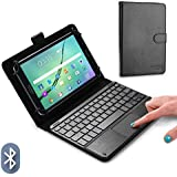 COOPER TOUCHPAD EXECUTIVE Keyboard case for 8'' - 8.9'' inch tablets | 2-in-1 Bluetooth Wireless Keyboard with Touchpad & Leather Folio Cover | Touchpad Mouse, Stand, 100HR Battery, 14 Hotkeys (Black)