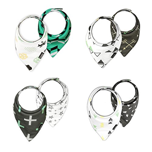 BabybyL Reversible and Waterproof 4-Pack Baby Bandana Drool Bibs for Drooling and Teething, Hypoallergenic Organic Cotton, Super Absorbent, Bib for Boys and Girls, Toddler, Baby Shower Set, Unisex