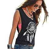 EOWEO Anniversary celebration T-Shirt Tops Vest Sexy Women Dreamcatcher Printed Sleeveless Tops Crop Tank Vest Shirt Tee M(Medium,Black)
