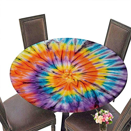 PINAFORE Modern Simple Round Tablecloth Abstract tie Dyed Fabric Decoration Washable 50