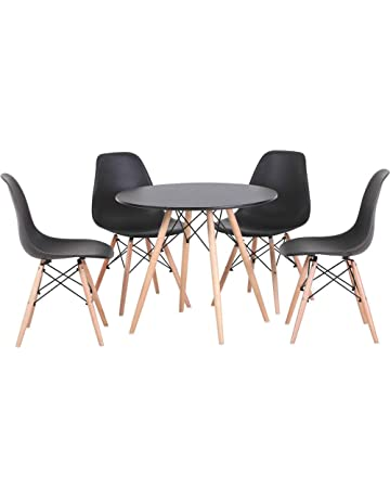 736ec6926eb Joolihome Eiffel Dining Table and 4 Chairs Set Wood Style for Office Lounge  Dining Kitchen White