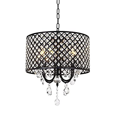 mirrea Crystal Chandelier Pendant Light, 4 Lights, with Crystal Beaded Drum Shade Painted Finish - Easy to assemble, no extra wiring job needed within fixture, only take about 30min to assemble and install, please check last 2 images on how to assemble the light and how to put on the crystal string. Crystals on drum shade pre-assembled. Hanging chain is adjustable, Max 39.37inch. Fixture diameter is 15.75in, fixture height is 17.72in. - kitchen-dining-room-decor, kitchen-dining-room, chandeliers-lighting - 51l1BWz 3nL. SS400  -