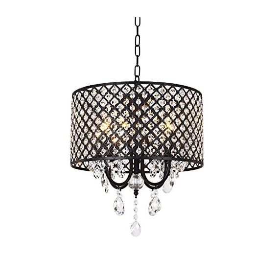 mirrea Crystal Chandelier Pendant Light, 4 Lights, with Crystal Beaded Drum Shade Painted Finish - Easy to assemble, no extra wiring job needed within fixture, only take about 30min to assemble and install, please check last 2 images on how to assemble the light and how to put on the crystal string. Crystals on drum shade pre-assembled. Hanging chain is adjustable, Max 39.37inch. Fixture diameter is 15.75in, fixture height is 17.72in. - kitchen-dining-room-decor, kitchen-dining-room, chandeliers-lighting - 51l1BWz 3nL. SS570  -