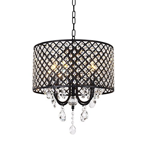 Drum Pendant Light With Crystal