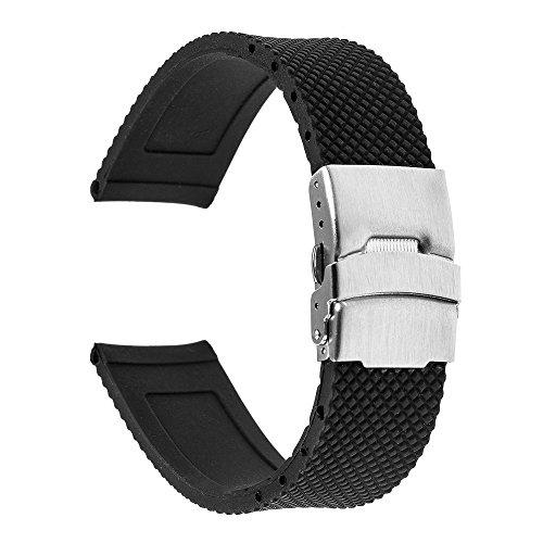TRUMiRR 22mm Silicone Rubber Watch Band Strap for Samsung Gear S3 Classic Frontier, Gear 2 R380 R381 R382, Moto 360 2 46mm Men, Asus Zenwatch 1 2 Men, Galaxy Watch 46mm, LG G Watch Urbane, Black ()