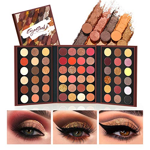 EYESEEK Eyeshadow Palette Glitter Pro 60 Colors Matte Shimmer Eye Shadow All In One Makeup Palette High Pigmented Metallic Color Eye Shadow Powder Easy To Blend Sparkle Glitter Eyeshadow Pallet #Brown