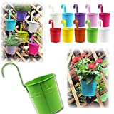Moonguiding 5pcs Metal Bucket Flower Hanging Pot Balcony Garden Pots Home Decoration Ornaments Random Color