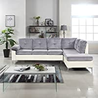 Modern 2 Tone Tufted Brush Microfiber / Faux Leather Sectional Sofa, Large L-Shape Couch (Light Grey / White)