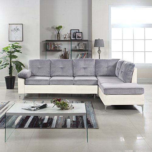 Modern 2 Tone Tufted Brush Microfiber / Faux Leather Sectional Sofa, Large L-Shape Couch (Light Grey / White) (Sofa Microfiber Tone)