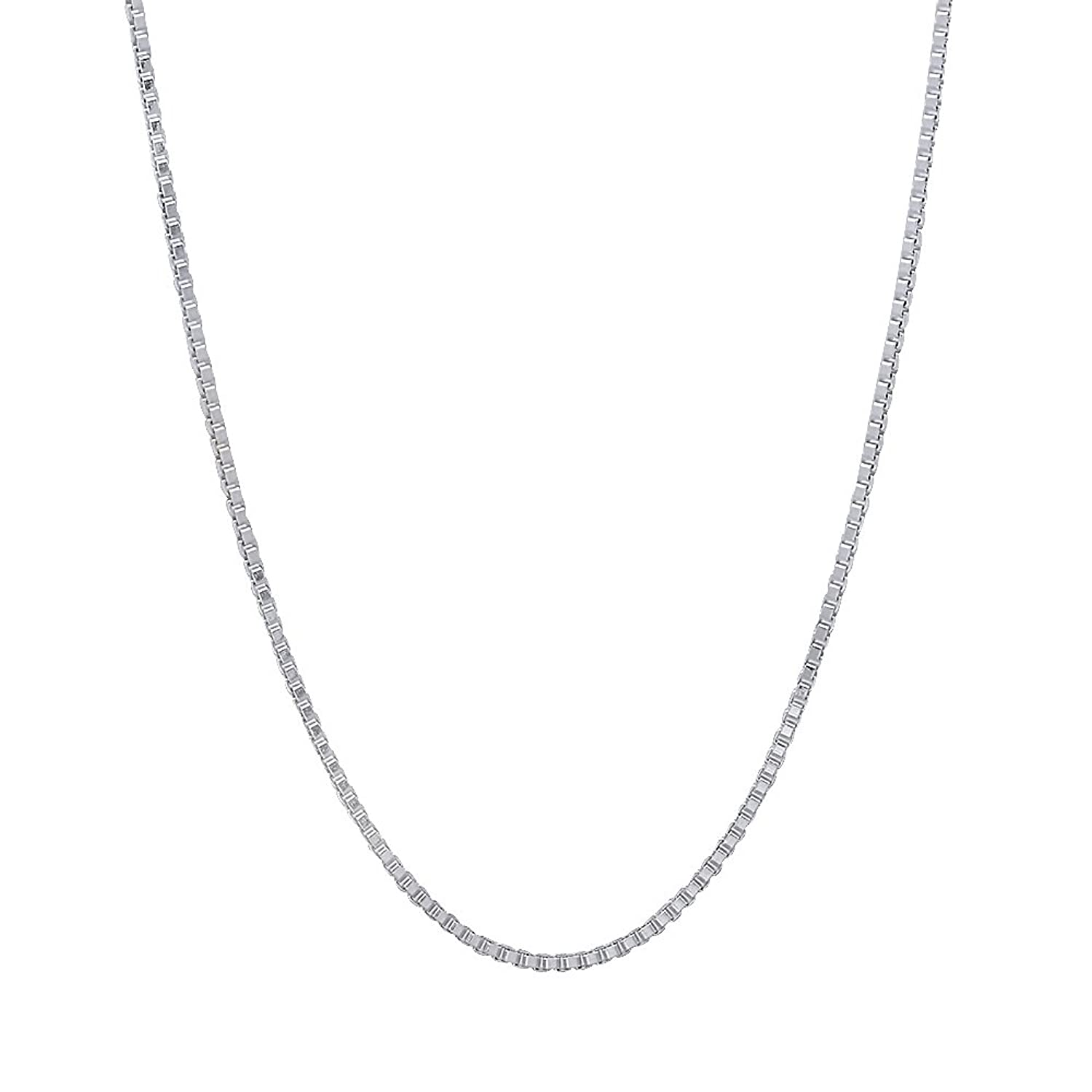 1mm 925 Sterling Silver Nickel-Free Box Chain Necklace - Made in Italy + Jewelry Polishing Cloth