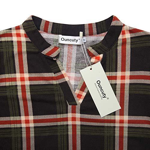 6dfe87b7fb3a92 Ouncuty Fall 3 4 Sleeve Tunics for Women V Neck Plaid Henley Blouses Shirts  Work