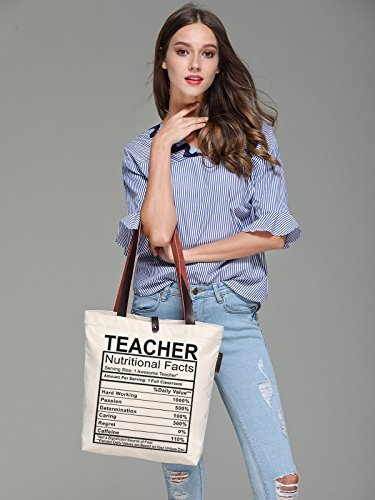 So'each Women's Awesome Teacher Graphic Top Handle Canvas Tote Shoulder Bag