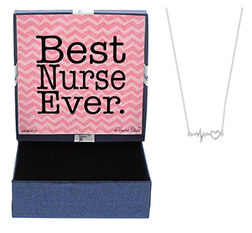 Mother's Day Gifts Nurse Gifts Best Nurse Ever Necklace Silver-Tone Heart and EKG ECG Test Pendant Necklace Jewelry Box Gift Jewelry for Nurse RN Nursing Grad Gifts Mom Nurse Mom Gift