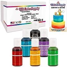 6 Color Cake Food Coloring Liqua-Gel Decorating Baking Primary Colors Set - U.S. Cake Supply .75 fl. Oz. (20ml) Bottles Primary Popular Colors