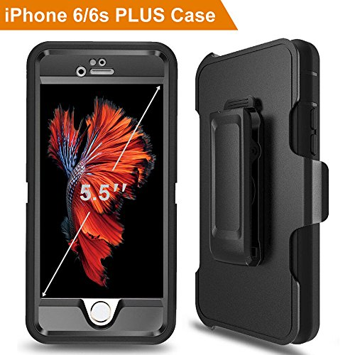 iPhone 6 Plus Case, iPhone 6s Plus Defender Case with Belt Clip, Kickstand, Holster, Heavy Duty, 4-in-1 Dropproof Shockproof Dustproof, Built-in Screen Protector Rugged Rubber Case for iPhone 6s (Rubber Case Clip)