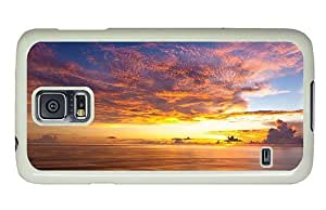 Hipster Samsung Galaxy S5 Case popular cover ocean sunset horizon PC White for Samsung S5
