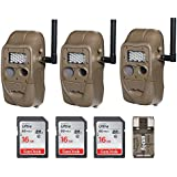 Cuddeback (3) CuddeLink J Series Networked Long Range IR Trail Cameras with 16GB Cards and Focus USB Reader