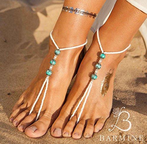 b2d4348082c Amazon.com  Boho Jewelry Barefoot sandals Turquoise Barefoot Sandals Yoga Sandals  Boho chic Barefoot Beach Sandals Barefoot wedding Sandals Beach shoes  ...