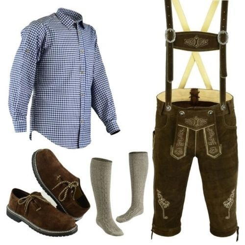 Bundhosen Costume (Bavarian Oktoberfest Trachten Lederhosen Bundhosen Costumes Brown 4 Pc Set (34))