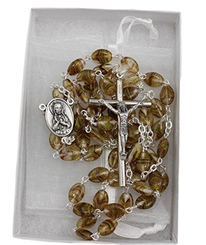 (Christian Living Glass Oval Bead Italian Made 23.5-inch Rosary Brown Cat's Eye)