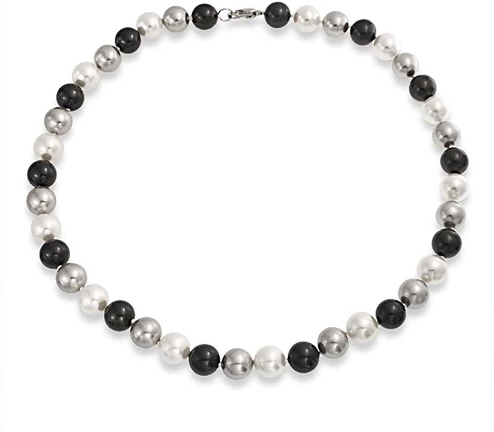 Simple Multi Color Golden Brown Black White Pink Hand Knotted 10MM Beads Simulated Pearl Strand Necklace for Women 18in